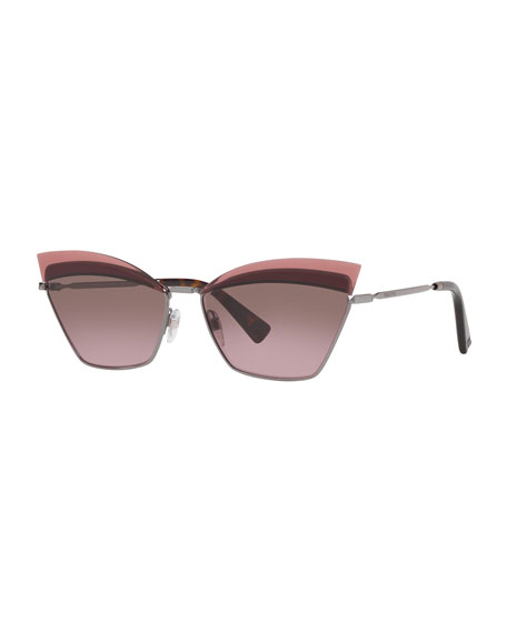 Valentino Cat-Eye Metal Sunglasses