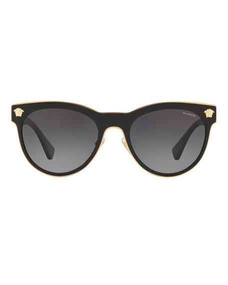 b059f94ecb Versace Polarized Round Metal Medusa Head Sunglasses
