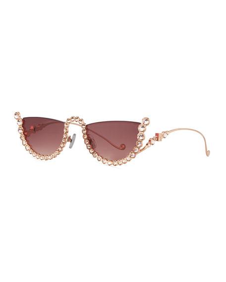 Anna-Karin Karlsson Half Moon Semi-Rimless Cat-Eye Sunglasses w/