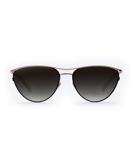 Krewe Sunglasses COHN TITANIUM/ACETATE CAT-EYE SUNGLASSES