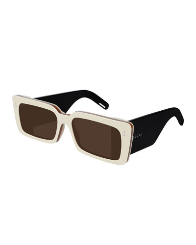 Two-Tone Chunky Rectangle Sunglasses