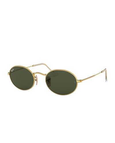 Monochromatic Oval Metal Sunglasses