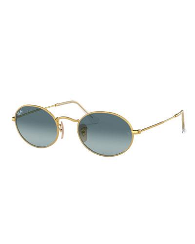 Gradient Oval Metal Sunglasses