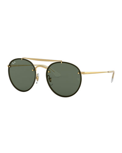 Round Lens-Over-Frame Metal Sunglasses