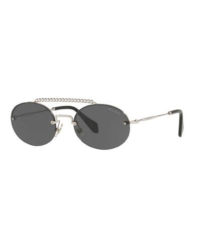 44e9014d16c5 Semi-Rimless Oval Sunglasses w  Crystal Embellishment Quick Look. Miu Miu