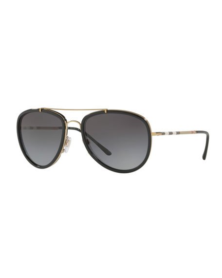 0bc537407982 Burberry Steel Aviator Sunglasses w  Check Arms