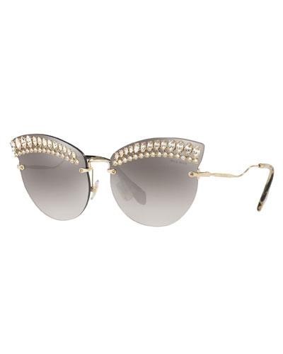 6d25df15b819 Crystal Trim Rimless Cat-Eye Sunglasses Quick Look. Miu Miu