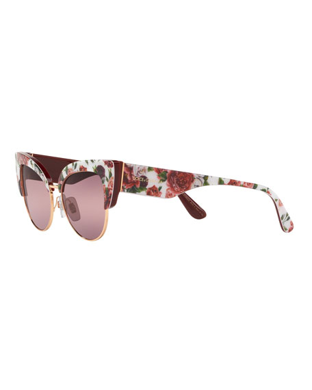 655d879891f3 Dolce & Gabbana Floral Printed Acetate Cat-Eye Sunglasses