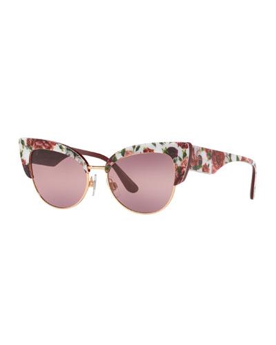 Floral Printed Acetate Cat-Eye Sunglasses