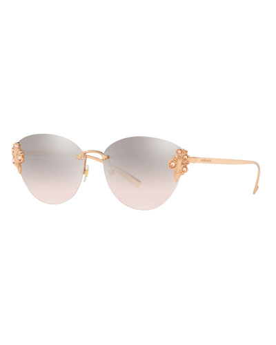 34bf34a06f Rimless Mirrored Cat-Eye Sunglasses w  Crystal Trim Quick Look. Versace