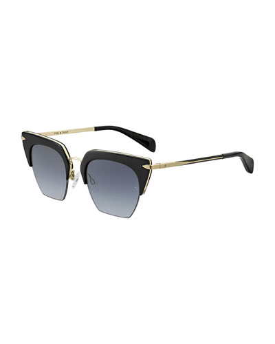 Acetate & Metal Cat-Eye Mirrored Sunglasses