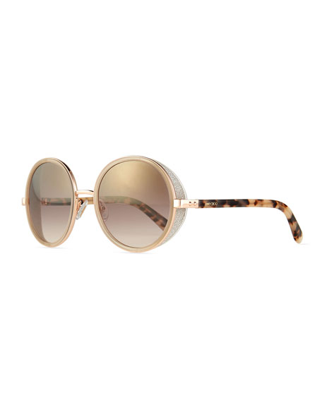 065864f463 Jimmy Choo Andie Round Glitter-Trim Sunglasses