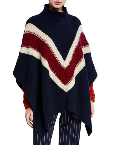 Cable-Knit Wool Chevron Poncho