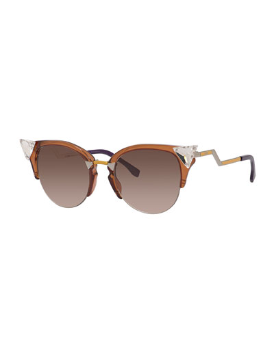 Crystal-Tip Cat-Eye Sunglasses