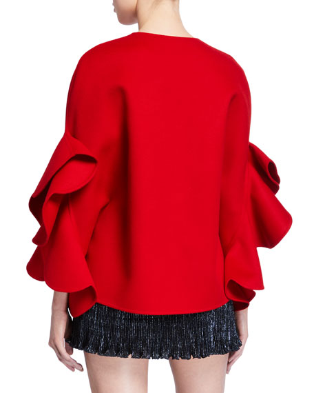 Ruffled-Compact Draped-Sleeve Cape