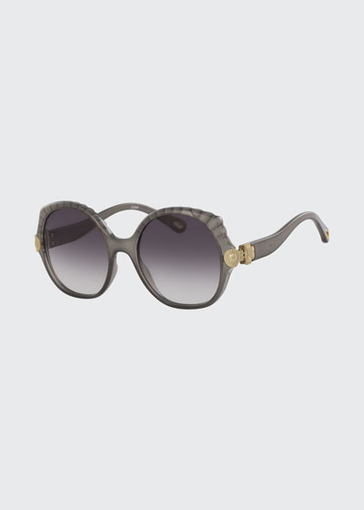 Scalloped Round Plastic Sunglasses