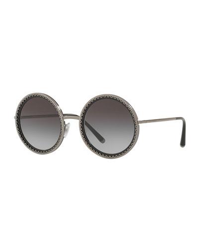 Round Scalloped Metal Frame Sunglasses