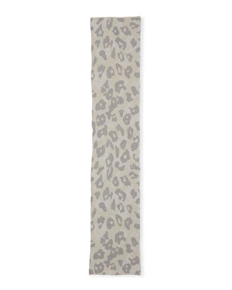 Leopard-Print Mohair Rectangle Scarf