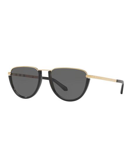 Flat Top Metal Aviator Sunglasses