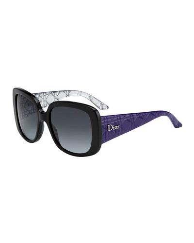 LadyL10S Quilted Acetate Square Sunglasses