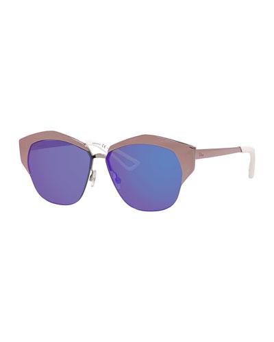 Mirrors Semi-Rimless Round Mirrored Sunglasses