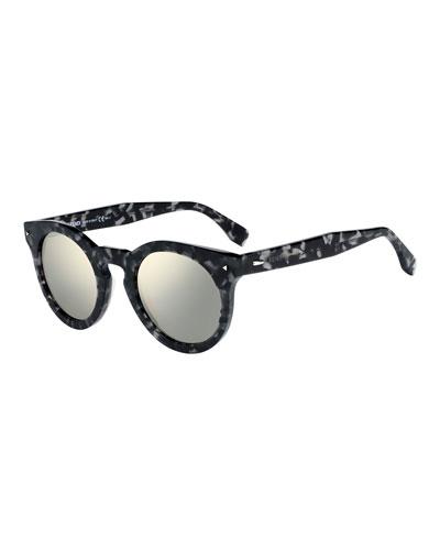 Round Mirrored Acetate Sunglasses