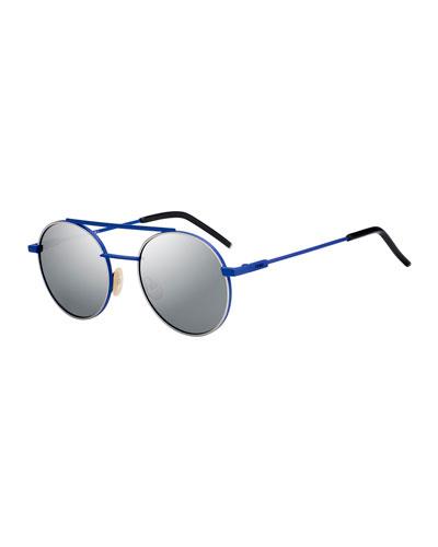 Round Mirrored Metal Sunglasses