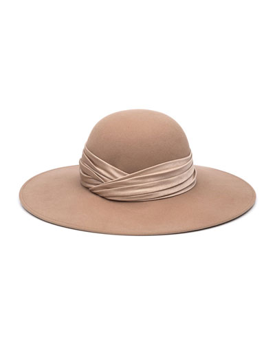 Honey Wool Large Brim Hat
