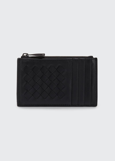 Intrecciato Leather Zip Card Case