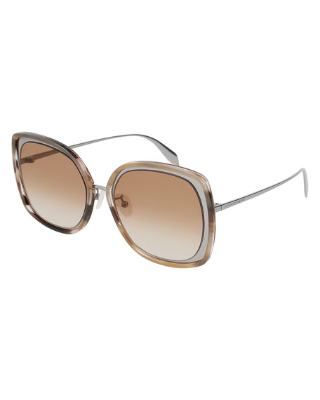 5ee76f5a8dd2 Alexander McQueen Oversized Square Acetate/Metal Sunglasses