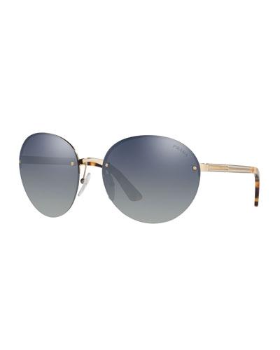 Rimless Acetate/Metal Sunglasses