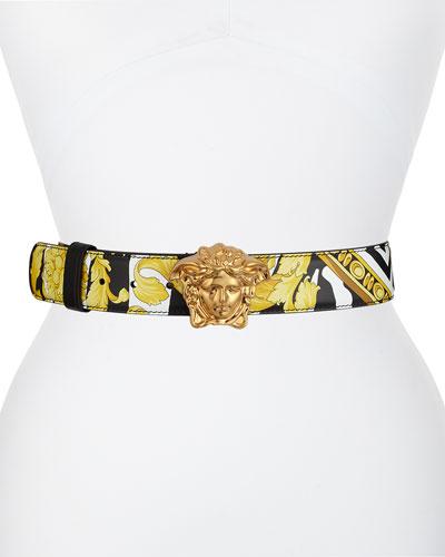 Borocco Print Leather Belt w/ Medusa Buckle