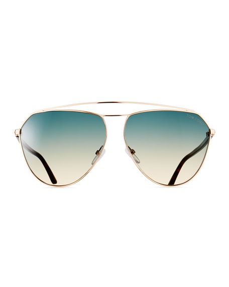 Metal Gradient Aviator Sunglasses