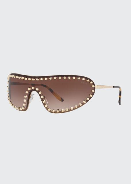 Studded Metal Shield Sunglasses