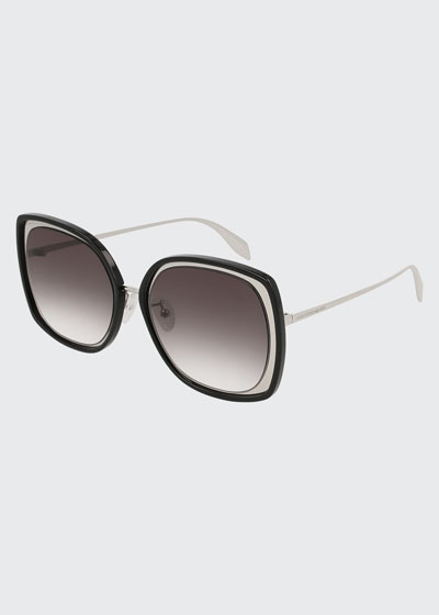 Oversized Square Acetate/Metal Sunglasses