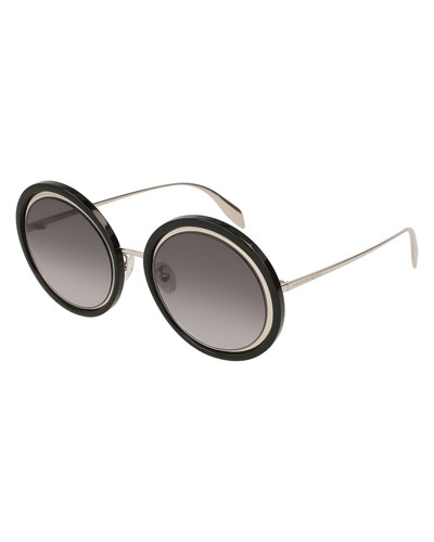 Oversized Round Acetate/Metal Sunglasses