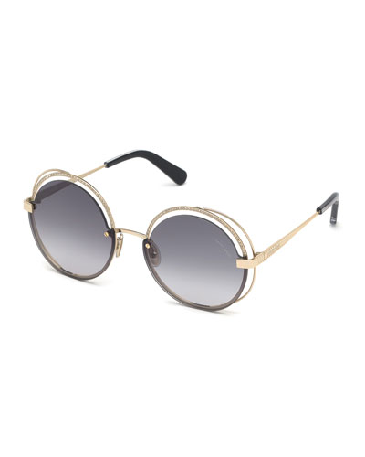 Round Semi-Rimless Metal Sunglasses w/ Crystal Trim