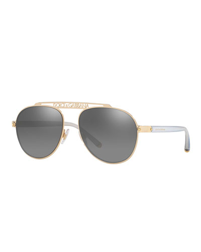 b487fb99e8bd Mirrored Aviator Sunglasses w  Logo Brow Bar Quick Look. Dolce   Gabbana
