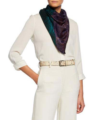 Bi-Color Paisley Silk-Cashmere Shawl