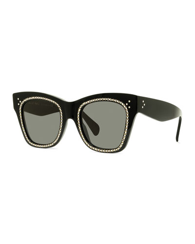 Studded Rectangle Acetate Sunglasses