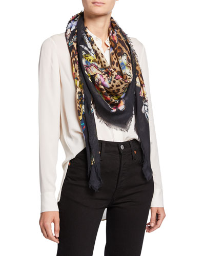 Butterfly & Leopard Print Modal/Cashmere Scarf