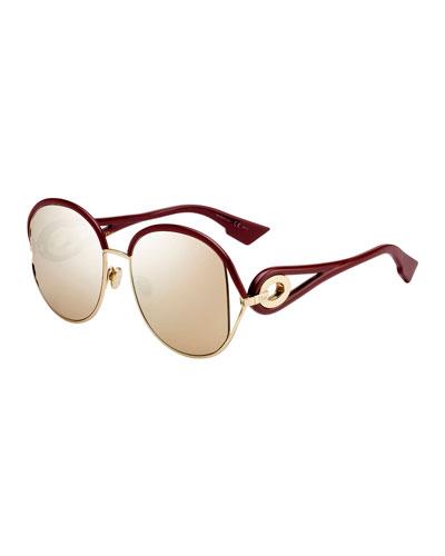 New Volutes Mirrored Round Sunglasses