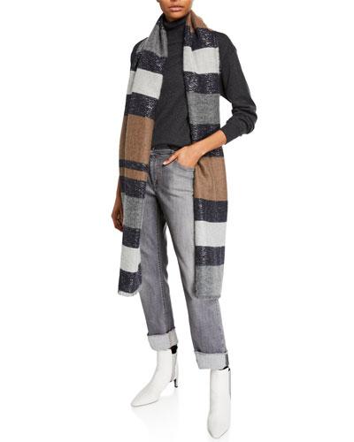 Shimmer Alpaca-Cashmere Striped Scarf