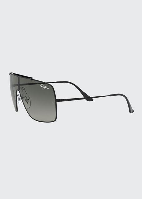 Monochromatic Shield Metal Sunglasses