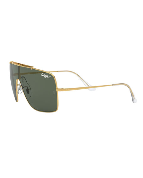 Monochromatic Shield Metal Sunglasses