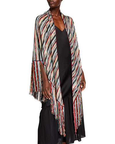 Multicolor Striped Wrap with Fringe