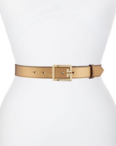 Metallic Leather Belt w/ Double-G Logo Buckle