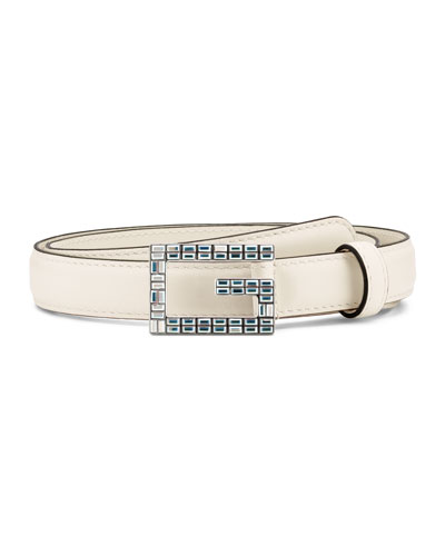 Madelyn Leather Belt w/ Square Crystal Trim G Buckle