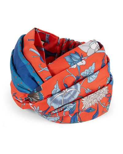Floral Print Padded Silk Headband