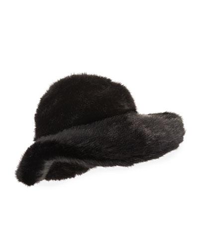 Faux-Mink Large Brim Hat